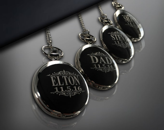 Pocket watch, Set of 4, Personalized gift, Groomsmen gift, Wedding gifts, Best Man unique gift, Husband gift, Guys gift, Mens gift, Gift box