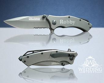 7 Personalized Knifes - 7 Custom engraved Gun Metal Grey Tactical knifes -Titanium coated laser engraved gift - Birthday gift - Wedding gift