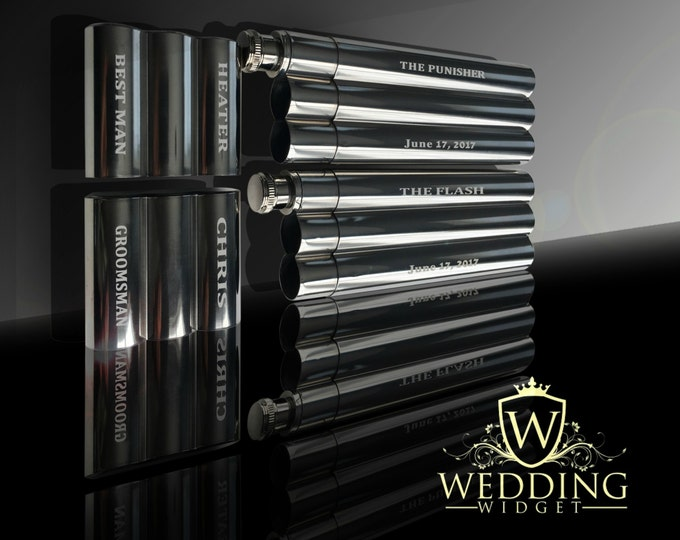 2 Groomsmen gifts - Best Man and Groomsman gift set - Engraved flask and cigar combination case - Personalized wedding gift - Gift for him