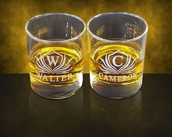 Engraved Rock Glass - Sets of 1, 3, 7, 9, 12, 15 Wedding gifts for him, Groomsmen personalized 7oz round glass - Customized Men's gift sets
