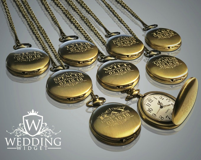 15 Personalized Pocket Watches - 15 Groomsman engraved gifts - Vintage Gold Watches - Best Man - Father of the Bride - Personalized gifts