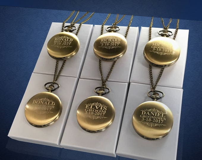 6 Groomsmen Pocket Watches - Groom gift - Couples gifts for weddings - Wedding gift set - Best Man - Man of Honor gift - Personalized gifts