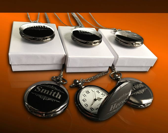 14 Personalized Pocket Watches - 14 Groomsman engraved gifts - Usher & Officiant gifts - Best Man - Father of the Bride - Personalized gifts