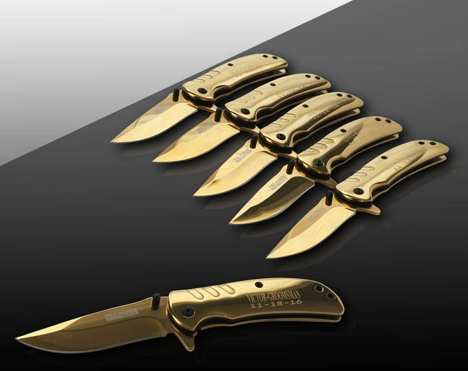 5 Personalized Knives - 5 Groomsmen engraved gift - Usher & Officiant gift - Best Man engraved tactical gift set - Wedding and Birthday gift