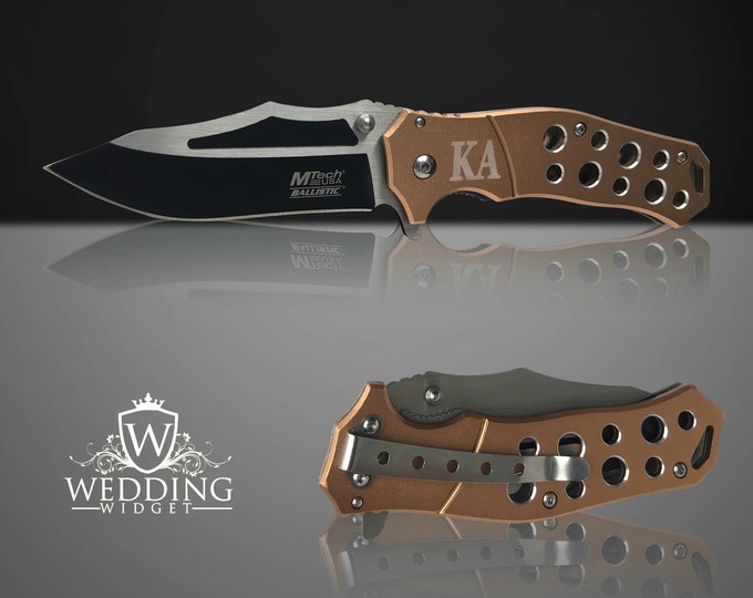 Tactical Engraved knife - Personalized laser engraved Groomsmen gift - Custom Knife - Hunting gift - Gifts for him - Usher and Best Man gift
