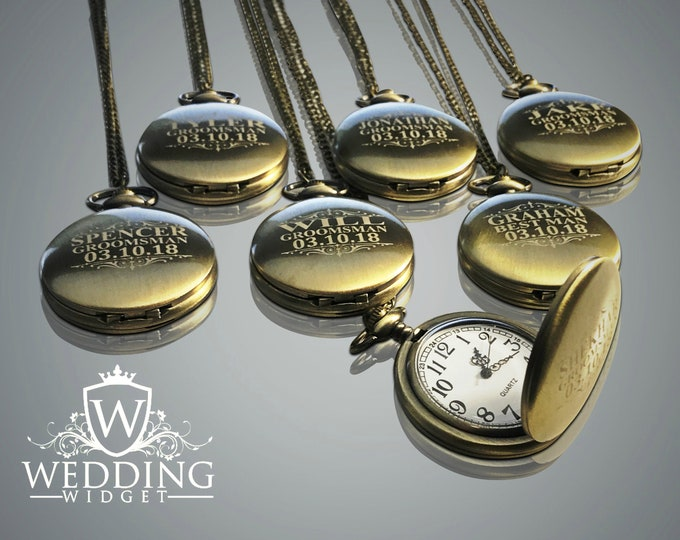 7 Personalized Pocket Watches - Groomsman engraved gifts - Personalize gift - Wedding gift - Best Man & Man of Honor gift -Brushed gold gift