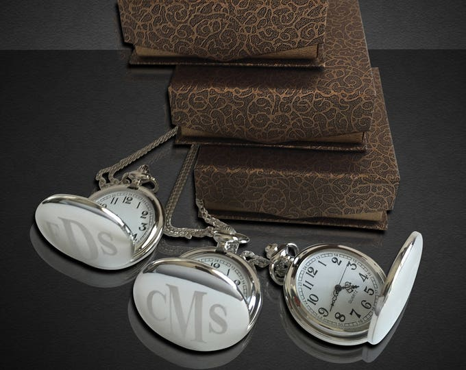 5 Engraved Pocket Watches - 5 Monogrammed engraved pocket watches - Personalize gift -Wedding Groomsmen gift set -Best Man & Groom gift