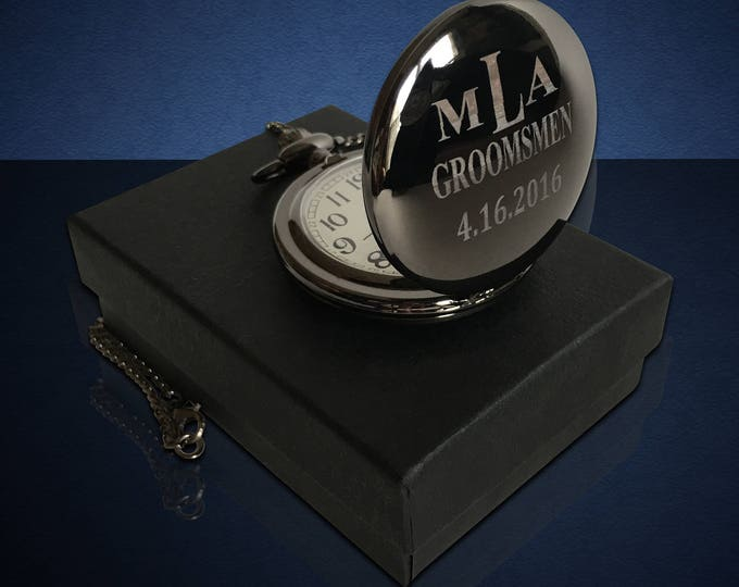 Personalized Pocket Watch - Groomsman gift - Best man gift - Usher wedding gift - Laser engraved Wedding gift - Bridesmaid gift - Bride gift