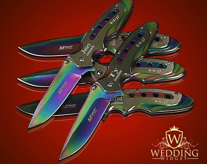 Engraved Pocket knives, 8 Personalized engraved pocket knives, 8 Custom piece wedding set, Best Man, Men's Ring Bearer and usher gift set