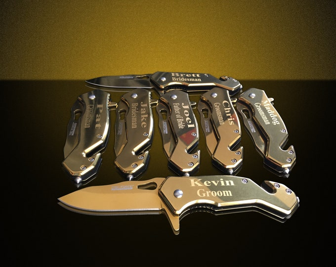 5 Personalized Knifes - 5 Groomsmen engraved gift - Usher & Officiant gift - Best Man engraved tactical knife - Wedding and Birthday gift