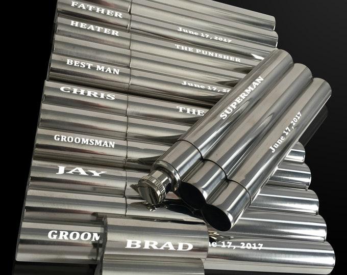 7 Engraved flask/cigar combo gift set - Groomsman Engraved flask/cigar case - Best Man gifts - Personalized gifts for him - Wedding gift set