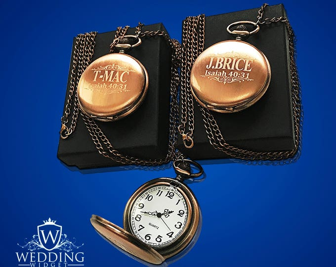 2 Personalized Pocket Watches - Father of the Bride - Gifts for Him & Her - Usher and Groomsmen gift - 2 Wedding gifts - Best Man gift set