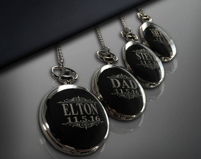 6 Personalized Pocket Watches - Gift for him gift - Groomsman gift set - Wedding gifts - Best Man - Man of Honor gift - Personalized gifts