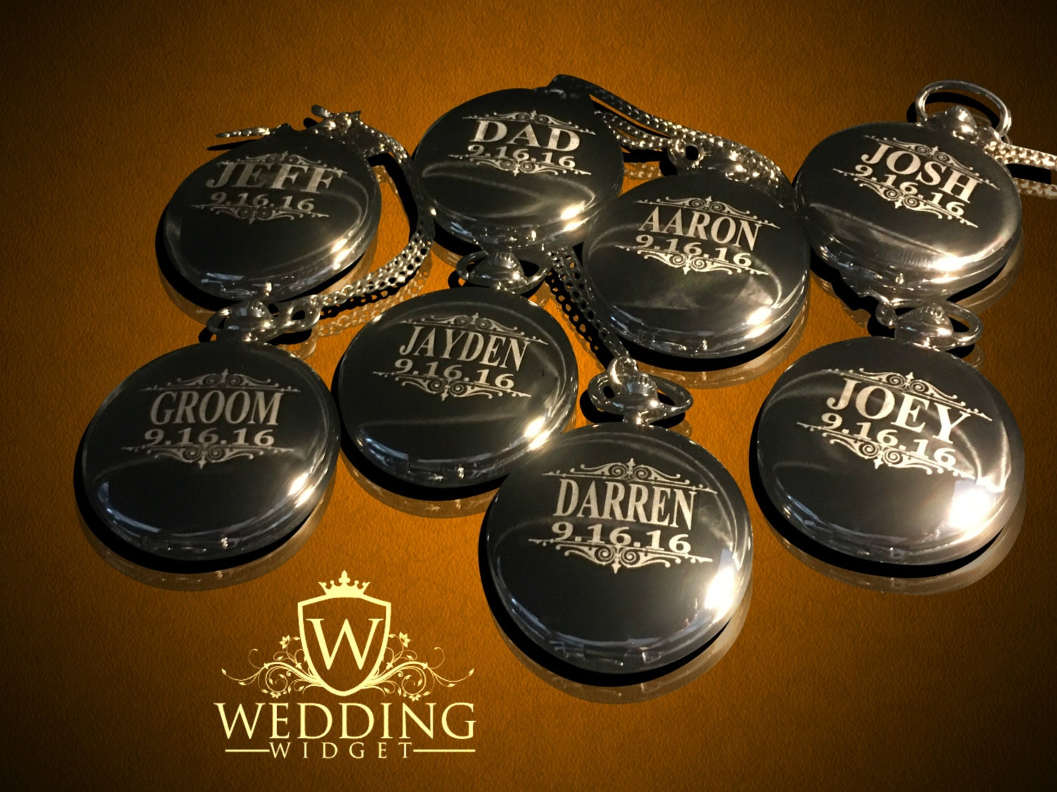 Groomsmen Gift 5 Personalized Pocket Watches Bride And Groom