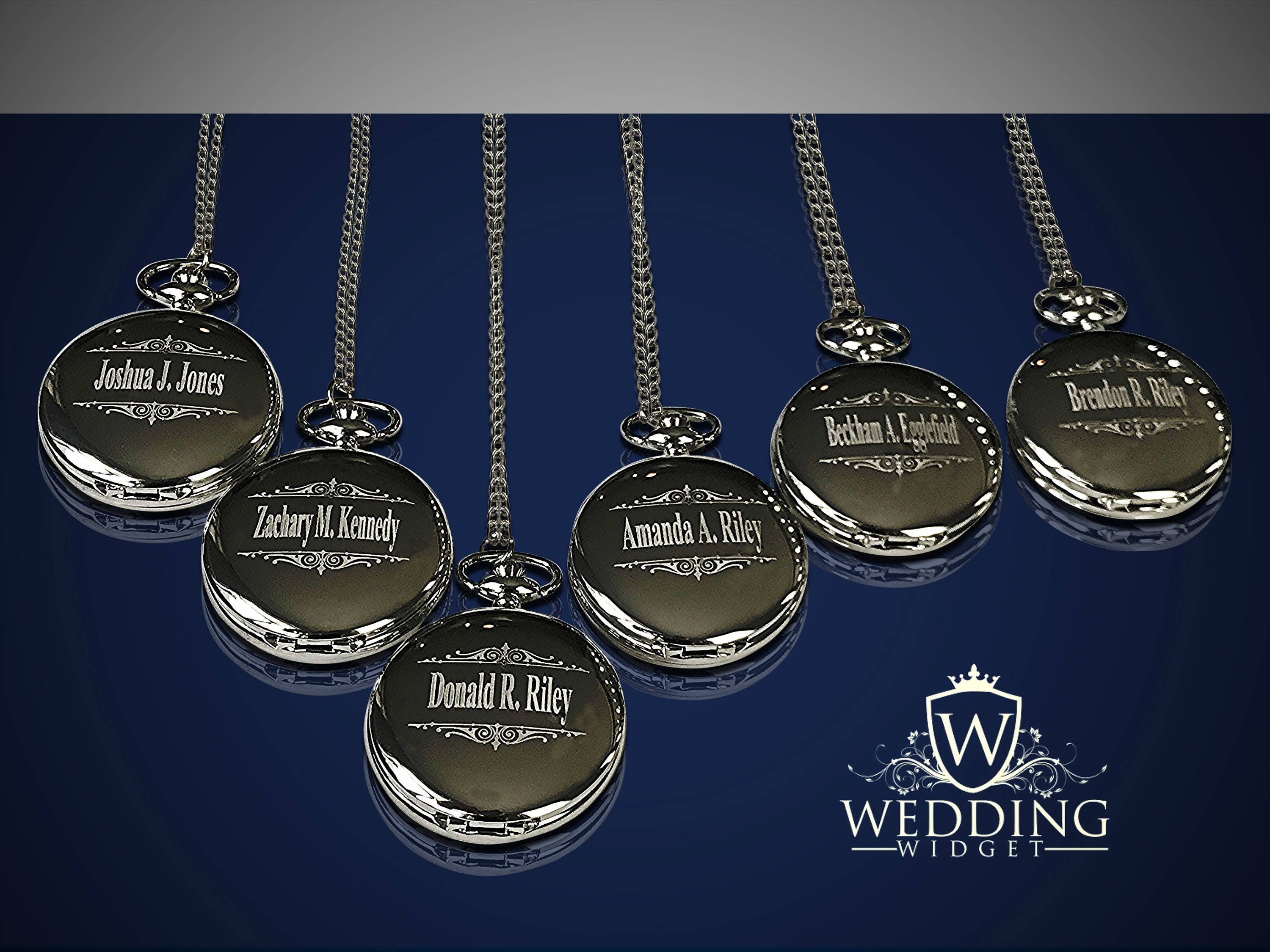7 Personalized Pocket Watches Groomsman Engraved Gifts