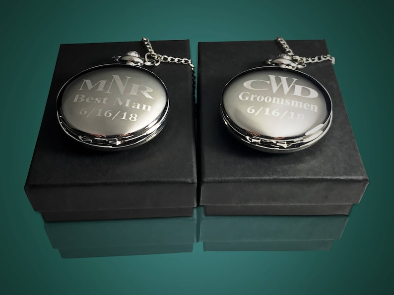8805ffdb4 Personalized pocket watch Set of 2 Groomsmen Gifts Engraved | Etsy