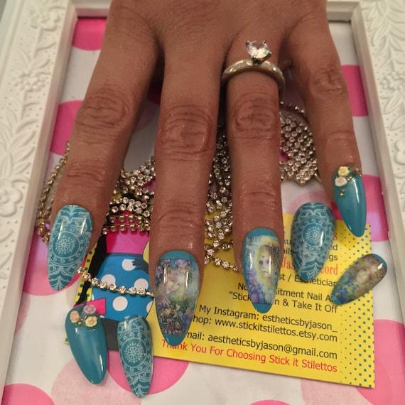 Long Almond Nails Blue Fantasy Nails Fairies Fairy Nails Press Etsy