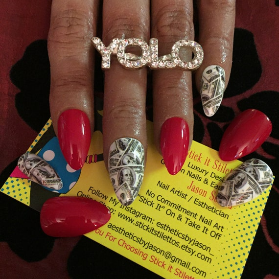 Money Nails Red Nails Almond Nails Short Stiletto Nails Red