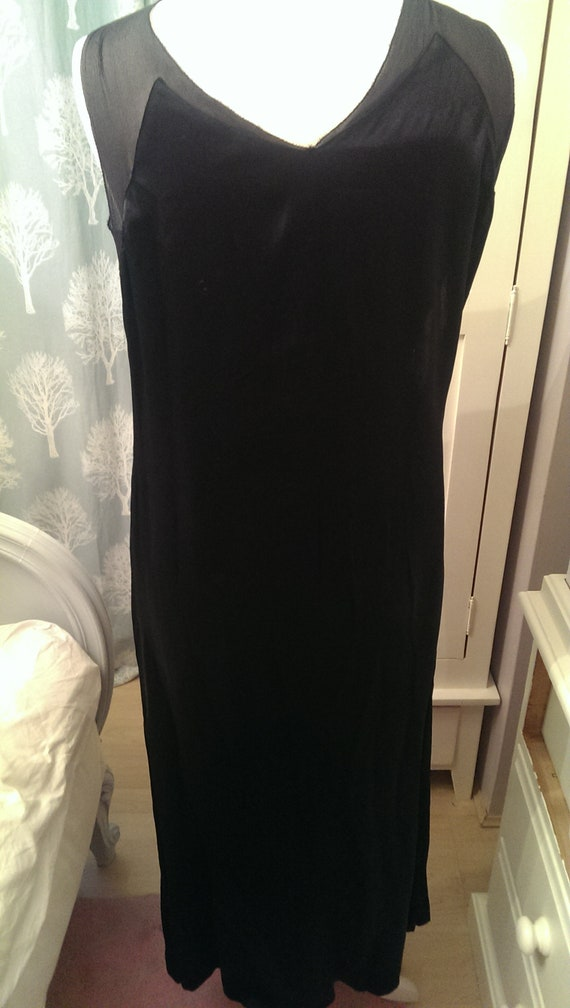 Rare Vintage 1920's/30s Black Chiffon and Silk Sa… - image 5