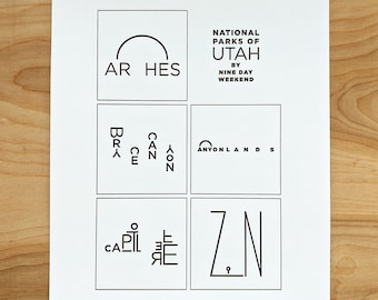 UTAH National Parks - letterpress print - original illustrations of Arches, Bryce Canyon, Canyonlands, Capitol Reef & Zion