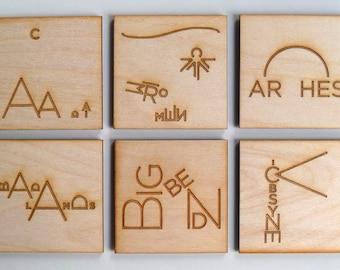 National Park magnets - original illustrations, laser cut wood - incl. Yosemite, Yellowstone, Grand Teton, Acadia, Arches, Zion, Badlands
