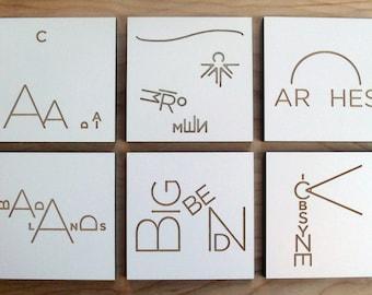 National Park coasters - original illustrations, laser cut wood w/ laminate, incl. Yosemite, Yellowstone, Grand Tetons, Arches, Zion, Acadia