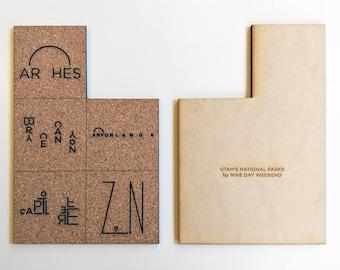 Utah National Parks trivet (hot pad) - original text illustrations, laser cut cork - Arches, Bryce Canyon, Canyonlands, Capitol Reef, Zion