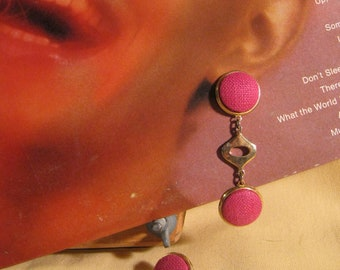 70's Hot Pink Drop Earrings, Mod, Retro, Vintage, Go-Go-Girls