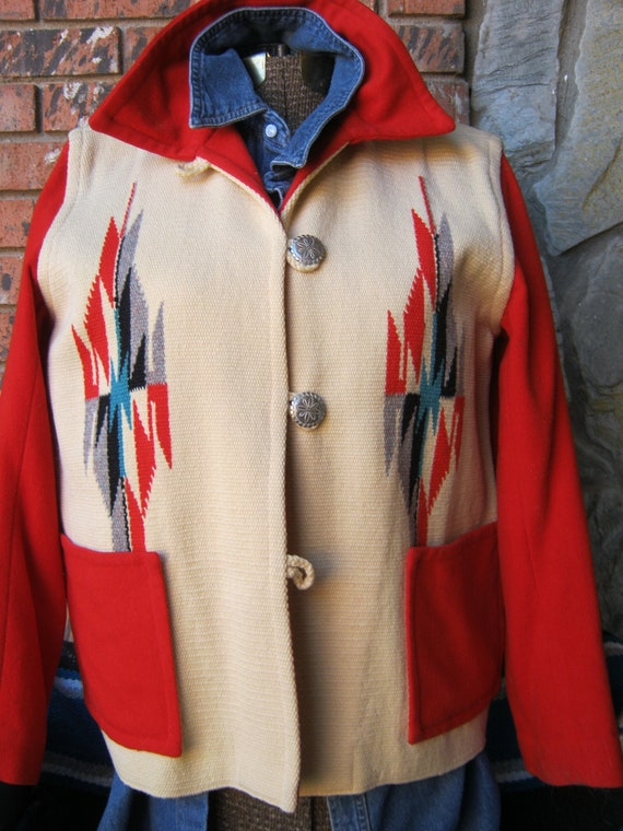 Vintage Chimayo Blanket Jacket, Authentic Southwes