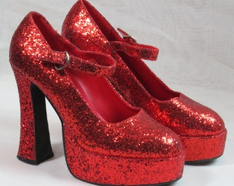 1990s WIZARD OF OZ Ruby Slippers, Vintage red glitter platform heels, Size 9 and Size 10