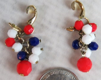 Vintage RED, WHITE, and BLUE, July 4th Earrings, Patriotic Earrings, Clip on, 1960s