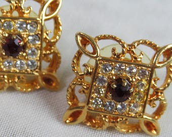 Vintage FILIGREE GARNET RHINESTONE Earrings 1990s