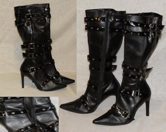 1f5cede0f85 Vintage GoTH Boots STRAPS and BUCKLES Silver Grommets Black Faux Leather