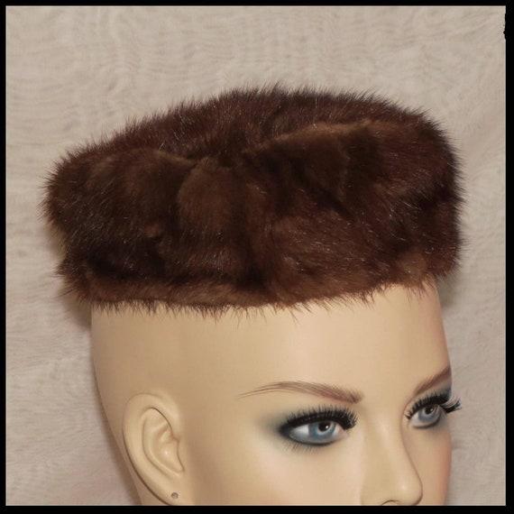 Vintage MINK HAT Genuine Mink PILLBOX Hat Womens F