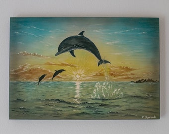 Jumping Dolphins, Wood Art, Wood Carving, Wall Art