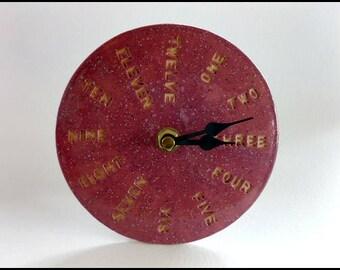 Clock, Mantel Clock, Mantle Clock, Red Clock, Handmade Clock, Ceramic Clock, Hand Painted Clock, Time Piece, Desk Clock, Teacher Gift