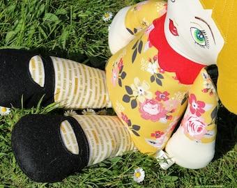 Large rag doll, custom made doll, CE Mark, Art Doll, Fabric Doll, Cloth Doll, modern rag doll, felt hair, Personalised doll, girl's gift,