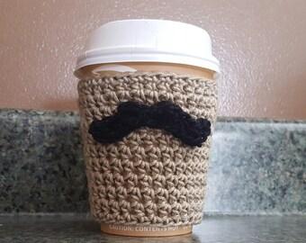 Crochet Pattern, Coffee Cozy Crochet Pattern, Mustache Coffee Cozy Crochet Pattern