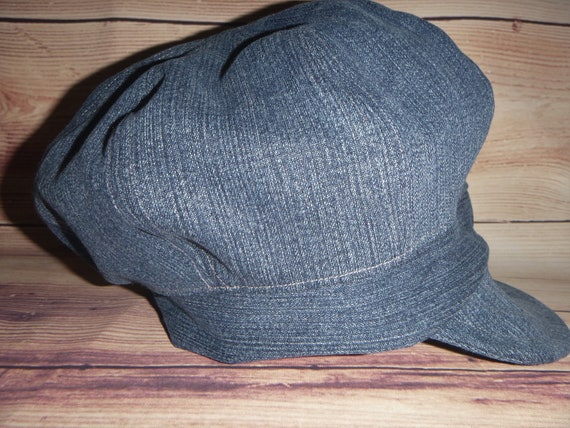 Denim Hat for Women Newsboy Hat 8 panel Recycled Blue Denim  45a67f0dc4