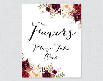 Printable Wedding Favors Sign - Marsala Floral Wedding Favor Sign - Pink Flowers Favors Please Take One Sign, Rustic Favor Table Sign 0006
