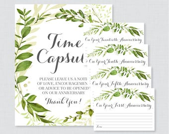 Printable Wedding Time Capsule Activity - Greenery Advice for the Bride and Groom - Green Wreath Wedding Reception Game/Activity 0007