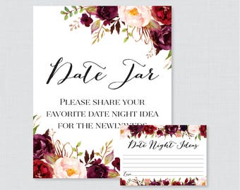 Printable Date Night Jar Activity - Marsala Flower Date Night Ideas for the Newlyweds - Rustic Floral Wedding Reception Game/Activity 0006