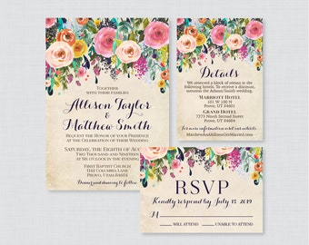 6791b4b28c Printable OR Printed Wedding Invitation Suite - Floral Wedding Invitation  Package - Shabby Chic, Colorful Flower Wedding Invites 0003-A