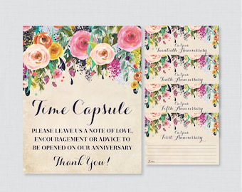 Printable Wedding Time Capsule Activity - Floral Advice for the Bride and Groom - Colorful Flower Wedding Reception Game/Activity 0003-A