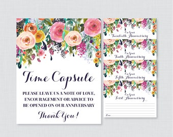 Printable Wedding Time Capsule Activity - Floral Advice for the Bride and Groom - Colorful Flower Wedding Reception Game/Activity 0003-B