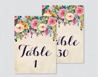 Printable Wedding Table Numbers - Floral Table Numbers for Wedding - Instant Download Table Numbers - Numbers 1-30 Colorful Flowers 0003-A