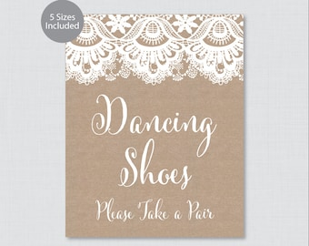 "Printable Dancing Shoes Sign - Rustic Burlap and Lace Wedding Dancing Shoes Sign - Burlap and Lace ""Dancing Shoes - Please Take a Pair"" 0002"