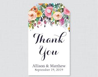 Printable OR Printed Wedding Favor Gift Tags - Floral Favor Tags for Wedding, Personalized Wedding Gift Tags, Thank You Tag, Flowers 0003-B