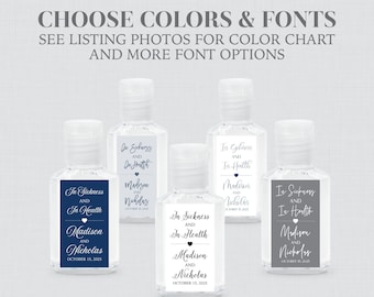 Printed Hand Sanitizer Labels - Choose Your Fonts and Colors for Wedding Hand Sanitizer Favor Stickers - Custom Rectangle Labels 0032
