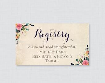 Printable OR Printed Wedding Registry Cards - Floral Wedding Registry Invitation Inserts - Colorful Flower Registry Inserts 0003-A
